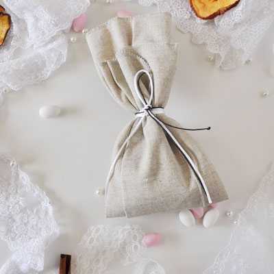 Μπομπονιέρα γάμου μαντήλι λινό της άμμου(gdg1)