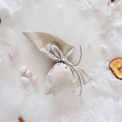 Μπομπονιέρα γάμου πουγκί με μύτη λινό της άμμου(gdg3)