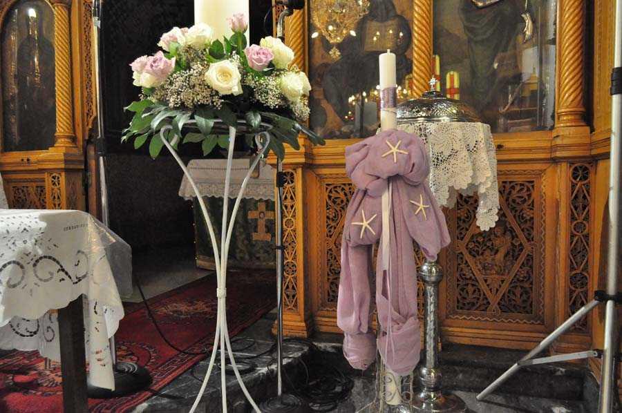 Λαμπάδες για γάμο-βάπτιση σε λιλά
