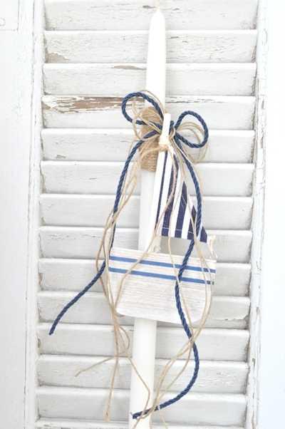 Πασχαλινή λαμπάδα με καραβάκι-pl111