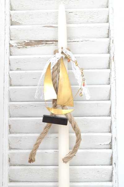 Πασχαλινή λαμπάδα με καραβάκι pl106