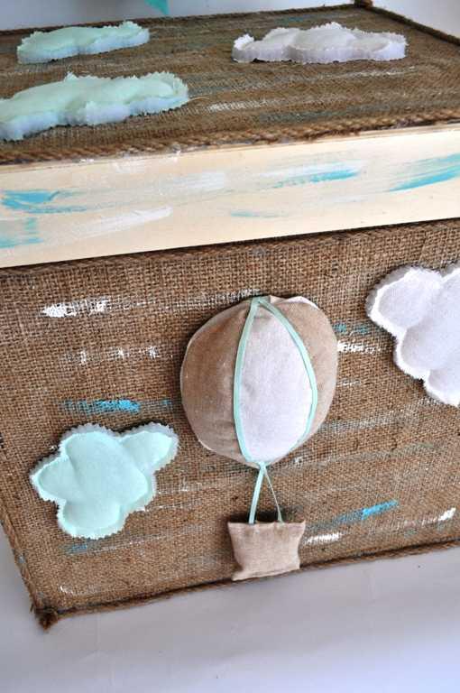 Κουτί βάπτισης με θέμα το αερόστατο