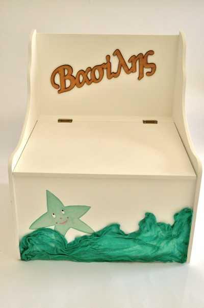 Κουτί βάπτισης παγκάκι με θέμα αστερία (kv17.03)