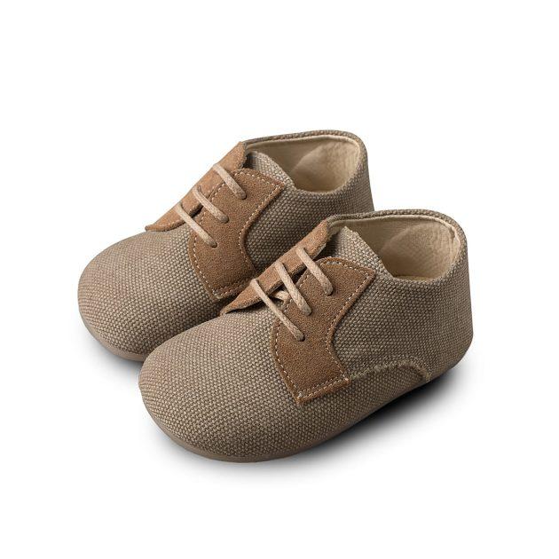 Βαπτιστικά Παπούτσια για Αγόρι Babywalker Δετά Υφασμάτινα Brogues