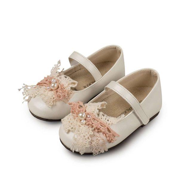 Βαπτιστικά παπούτσια για κορίτσι Babywalker γοβάκι με δαντελένιο φιόγκο.