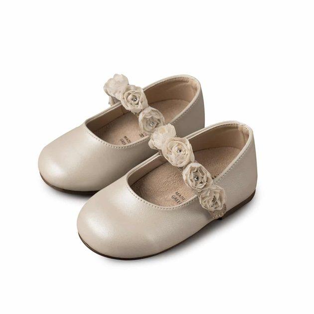 Βαπτιστικά Παπούτσια για κορίτσι Babywalker γοβάκι μονή μπαρέτα με Chiffon λουλούδια
