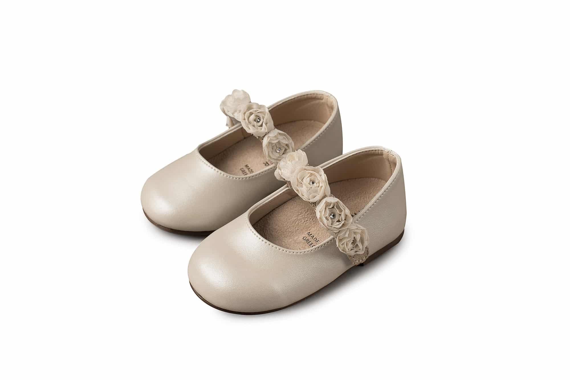 34787a20872 Βαπτιστικά Παπούτσια για κορίτσι Babywalker γοβάκι μονή μπαρέτα με Chiffon  λουλούδια