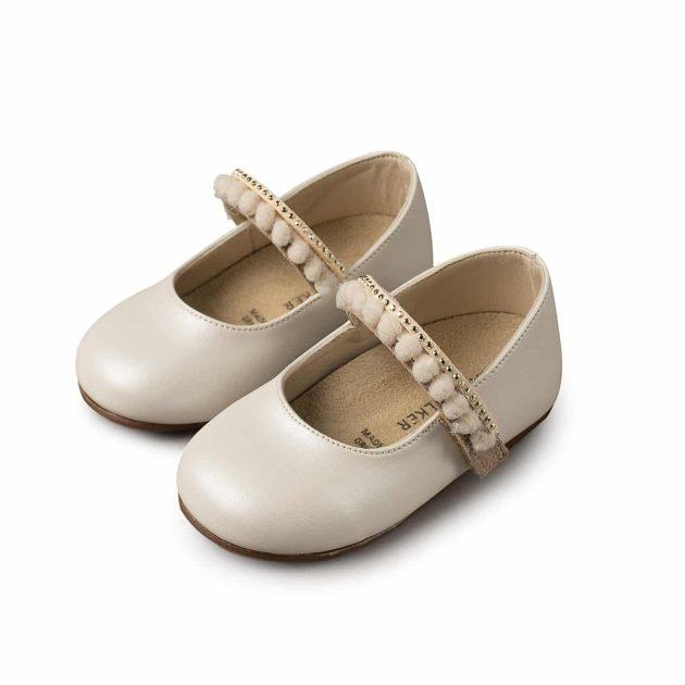 Βαπτιστικά παπούτσια για κορίτσι Babywalker γοβάκι μονή μπαρέτα με pom-pom και στρας