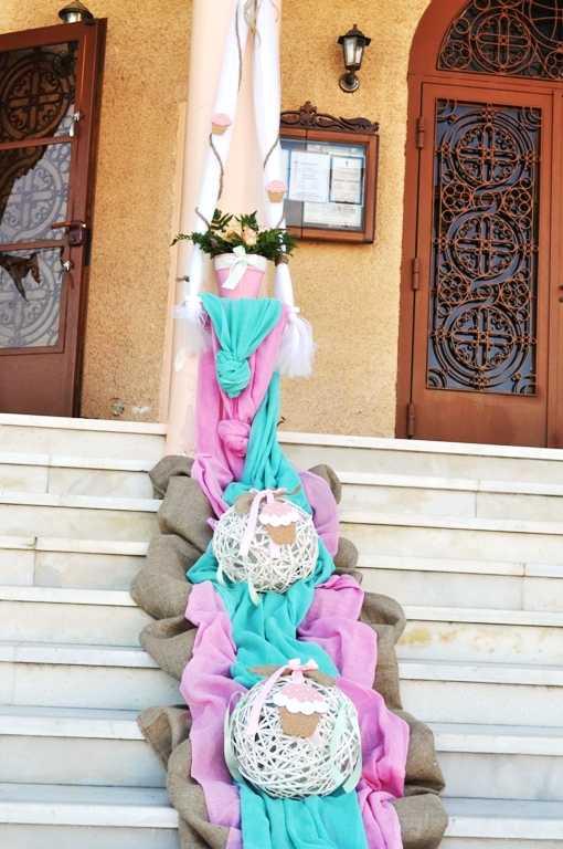 Στολισμός βάπτισης με cupcakes βεραμάν- ροζ