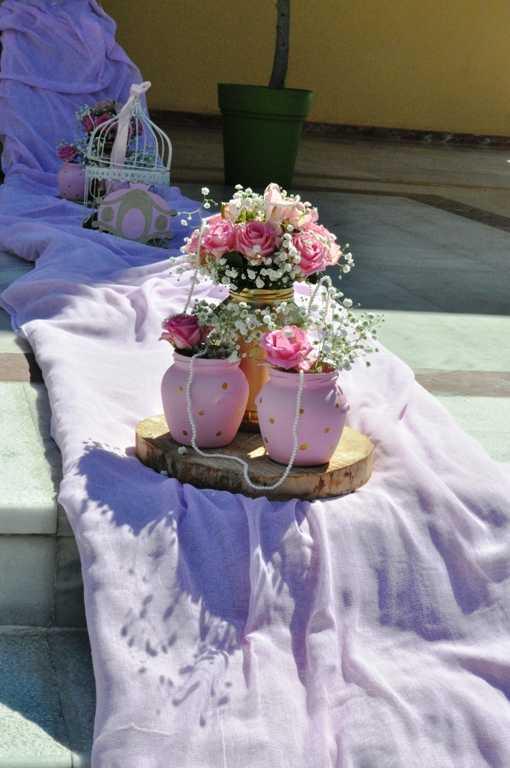 Στολισμός βάπτισης με θέμα Princess ροζ-χρυσό