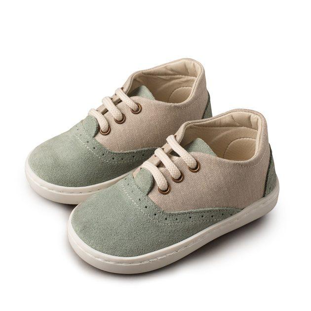 Βαπτιστικά Δίχρωμα Δετά Sneakers Babywalker από Ύφασμα & Δέρμα Suede (BW4098)