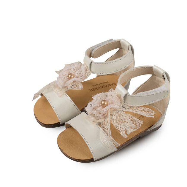 Βαπτιστικό Παπούτσι Babywalker για Κοριτσάκι με Δαντελένιο Φιόγκο (BW4522)