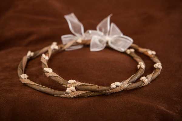 Χειροποίητα ξύλινα στέφανα γάμου (E.Σ 495)
