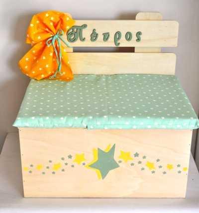 Κουτί βάπτισης παγκάκι με θέμα αστεράκι