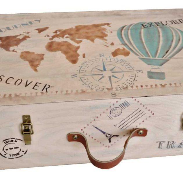 Ξύλινη βαλίτσα με θέμα ταξίδι (kv19.02)