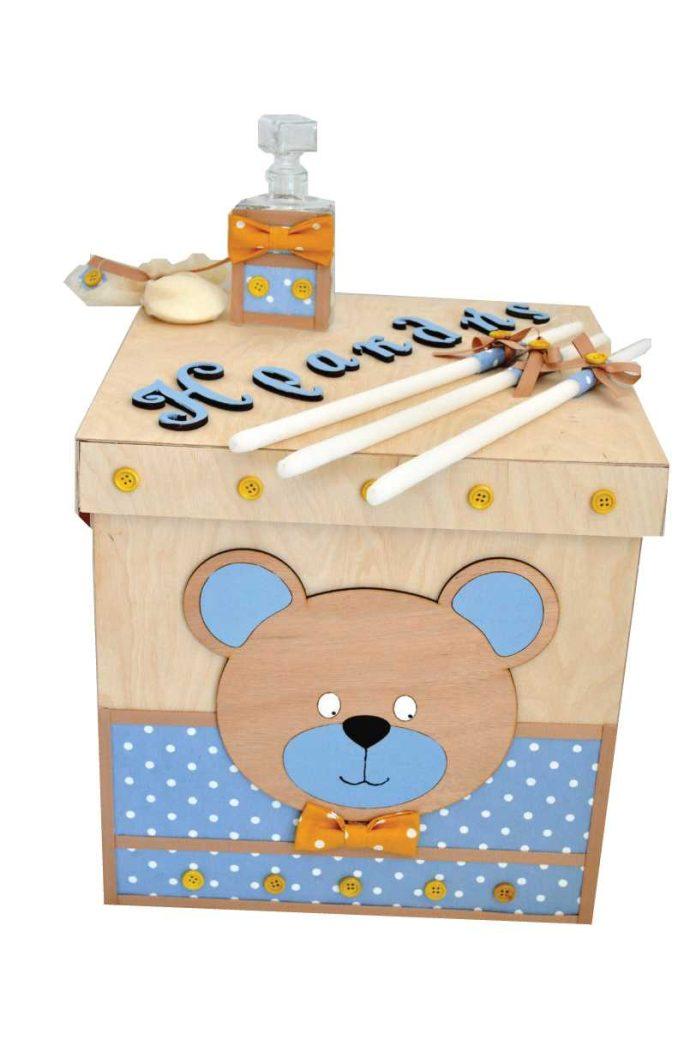 Κουτί βάπτισης αρκουδάκι (kv19.08)