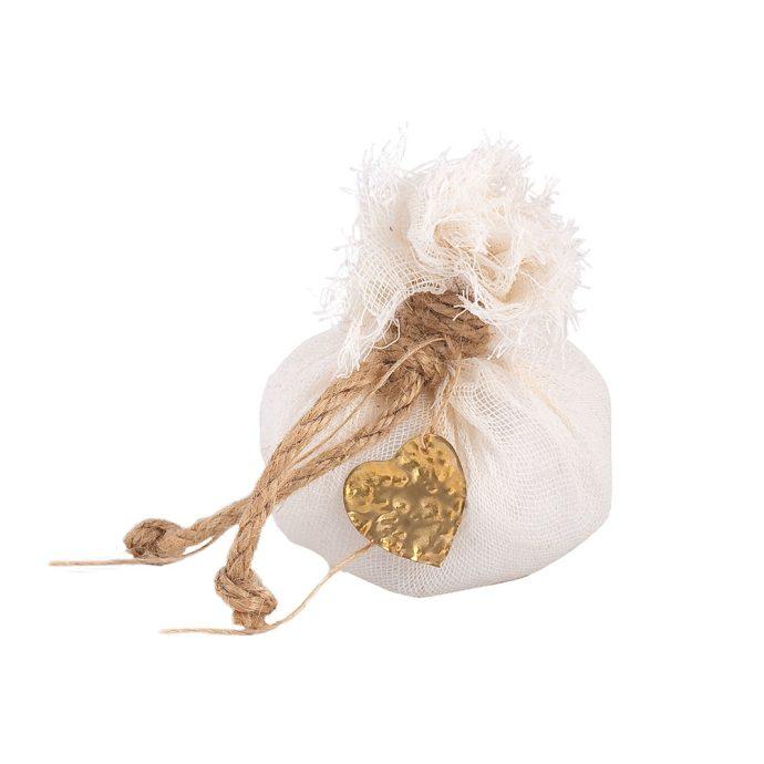 Μπομπονιέρα γάμου πουγκί με μεταλλική χειροποίητη καρδιά (km19.20)