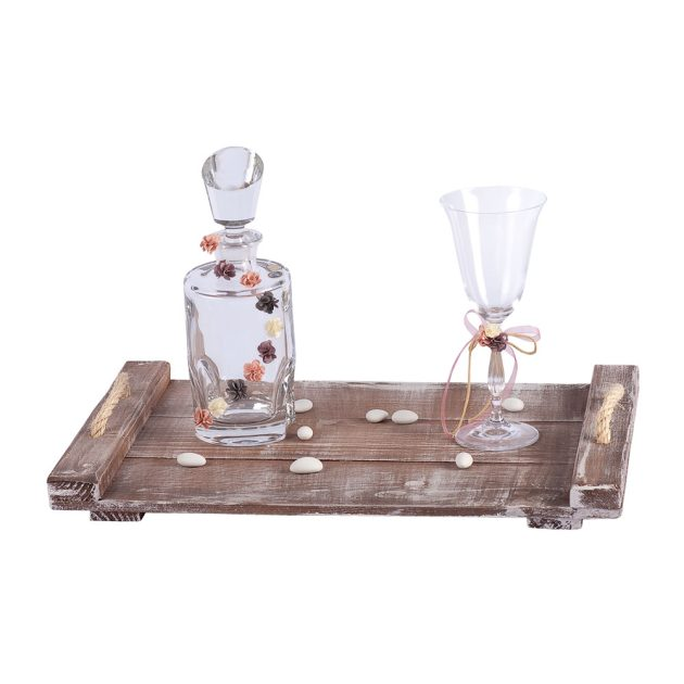 Σετ Κουμπάρου Κρυστάλλινη Καράφα / Ποτήρι & Ξύλινο Δίσκο (b19.03)