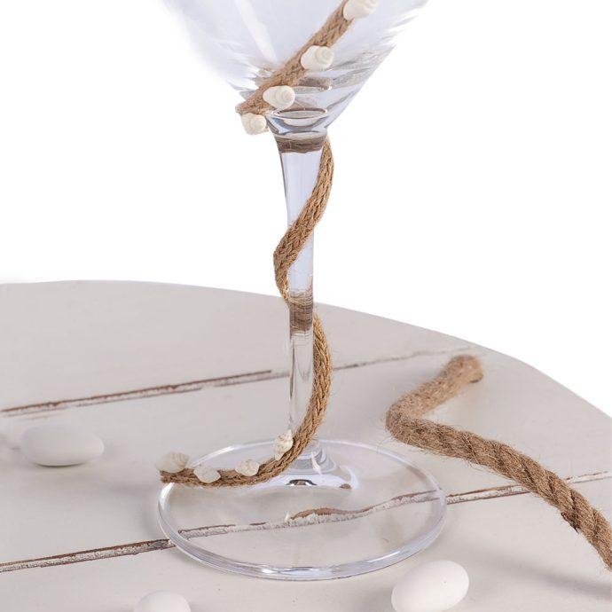 Σετ Κουμπάρου με Σχοινί & Λευκά Κοχύλια