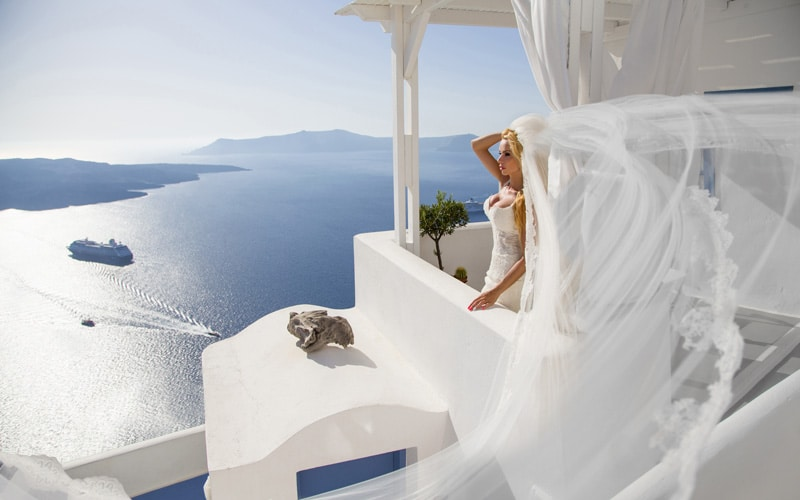 Greek Bride - Santorini Sunset
