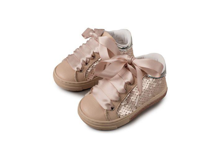 Δερμάτινο Δετό Βαπτιστικό Sneaker με Παγιέτες (EXC.5698)