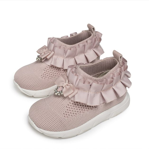 Βαπτιστικά Πλεκτά Sneakers με Πλισέ Βολάν (EXC.5737)