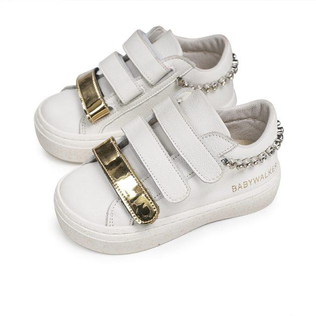 Δερμάτινα Βαπτιστικά Sneakers με Swarovski στη Φτέρνα