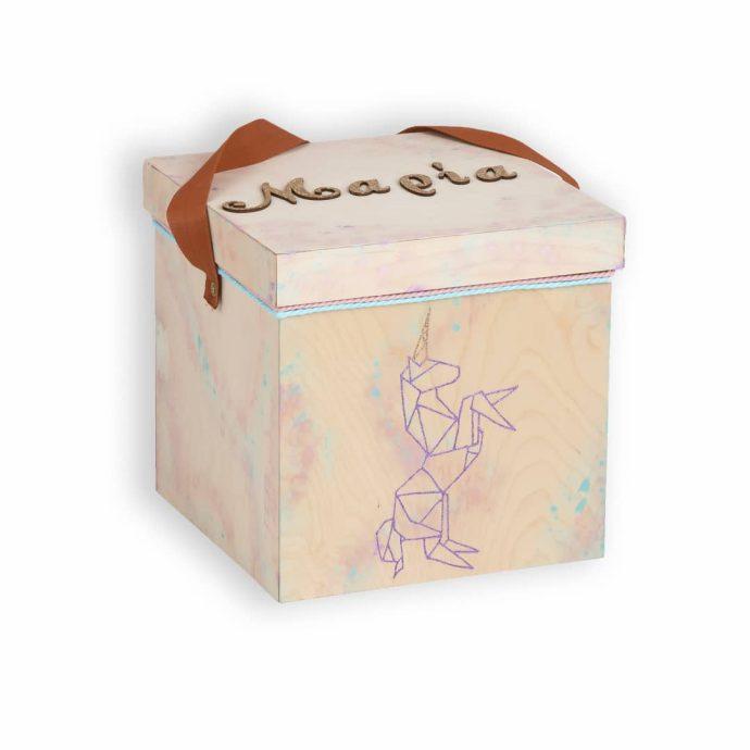 Ξύλινο Κουτί Βάπτισης Unicorn Origami | Γράμματα με Glitter