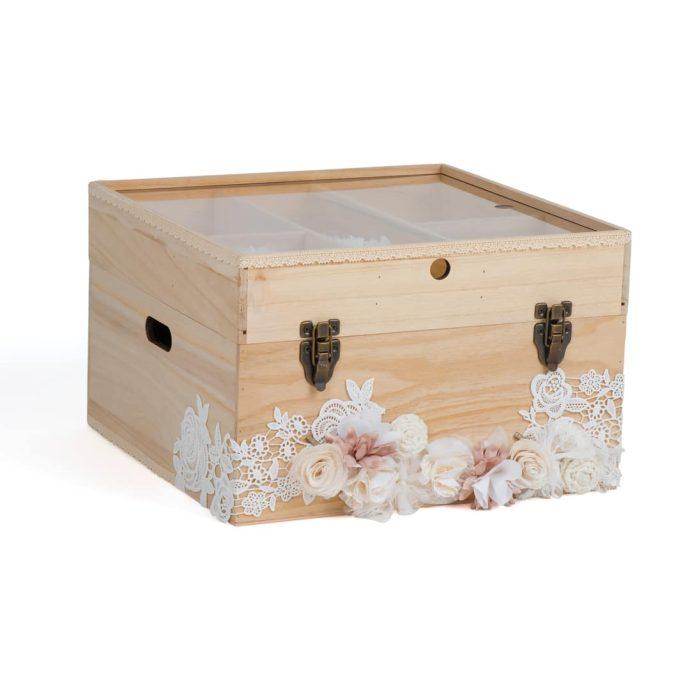 Ξύλινο Κουτί Βάπτισης με Ρομαντική Διακόσμηση