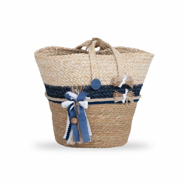 Ψάθινη Τσάντα Βάπτισης Free σε Μπεζ-εκρού και Μπλε Αποχρώσεις