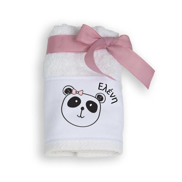 Μπομπονιέρα Βάπτισης Πετσέτα με θέμα Panda (Ροζ)