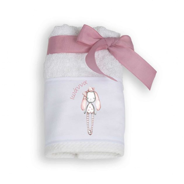 Μπομπονιέρα Πετσέτα με Θέμα Pink Rabbit