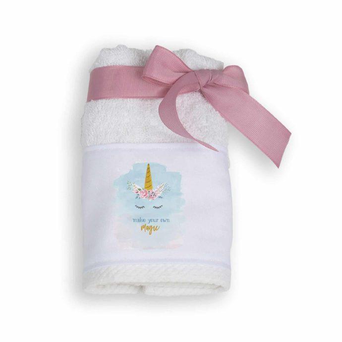 Μπομπονιέρα Πετσέτα με Θέμα Unicorn