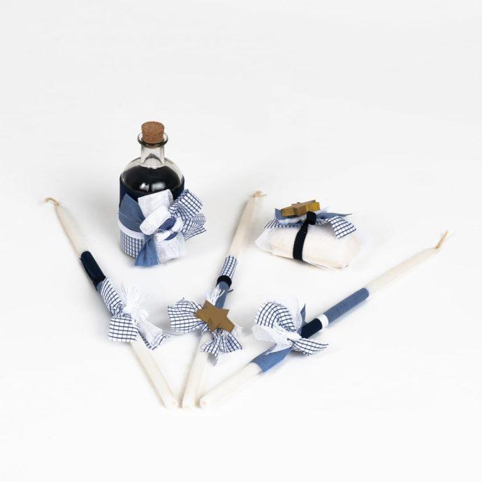 Σετ Λαδιού Βάπτισης για Αγόρι | Μπουκάλι Λαδιού, 3 Κεράκια, Σαπούνι