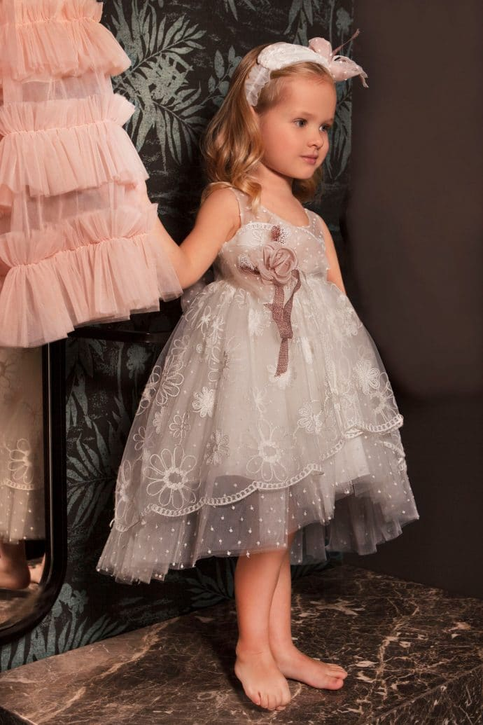 Ρομαντικό Ασύμμετρο Φόρεμα Βάπτισης Dolce Bambini (dbg546)