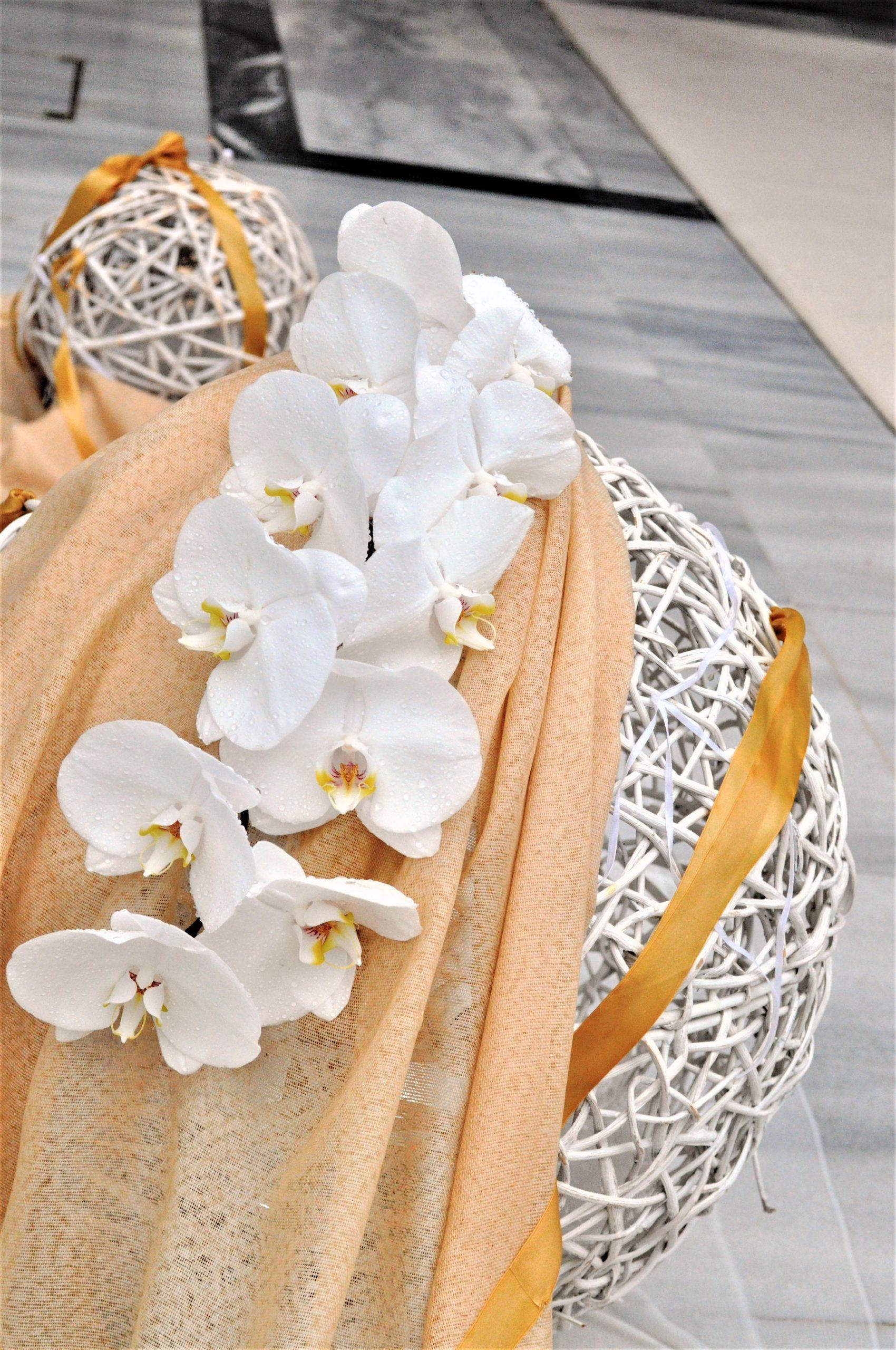 Στολισμός Γάμου σε Λευκό - Χρυσό με Phalaenopsis