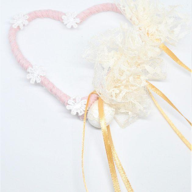 Μπομπονιέρα Γάμου Χειροποίητη Καρδιά (Ροζ)